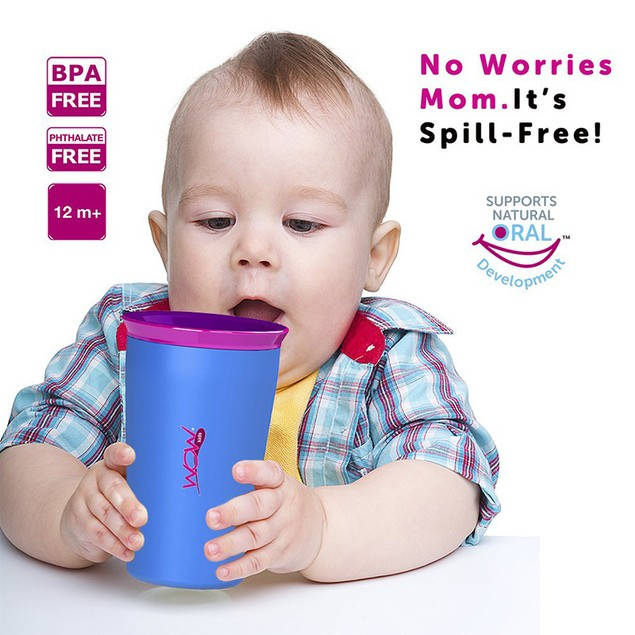 2-Pack Wow Cup for Kids Innovative 360 Spill Free Drinking Cup