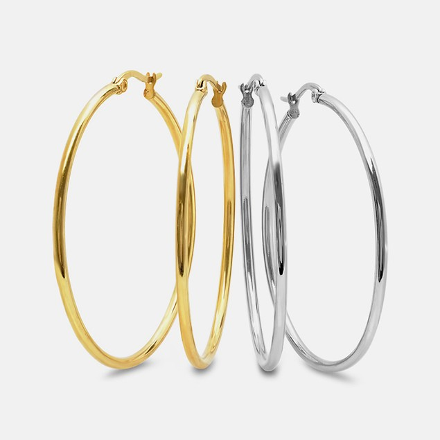 Set of 2 Stainless Steel Hoops In Metallic And 18kt Gold Plated