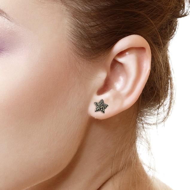 Sterling Silver Sparkling Crystal 10mm Stud Earrings - Star Grey