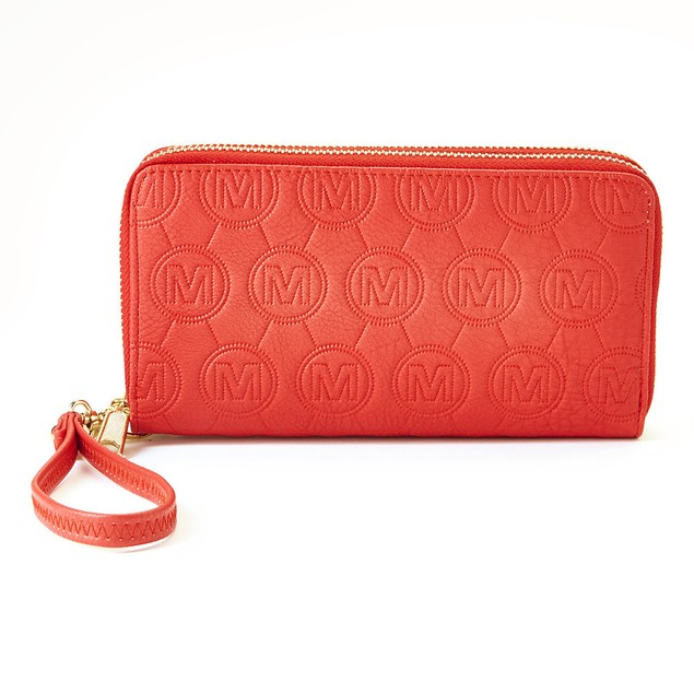Mia K Farrow Collection Womens Embossed Full-Zip Wallet with Wristlet Strap