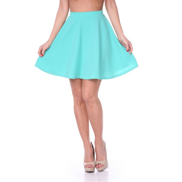 Solid Mint Fit & Flare Skater Skirt