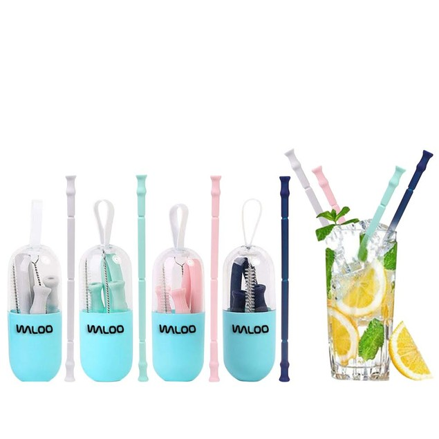 Reusable Silicone Drinking Straw with Case