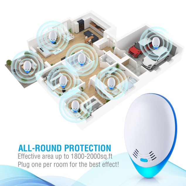 4-Pack Ultrasonic Pest Insect & Rodent Repellent