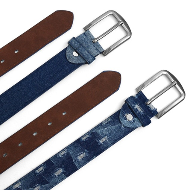 2-Pack Men's Parquet Jean Washed Denim Belts