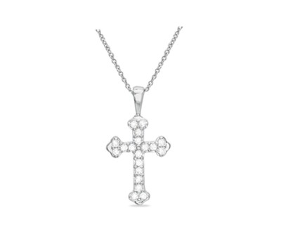 0.925 Sterling Silver Rhodium Finished Cubic Zirconia Cross Pendant with 18