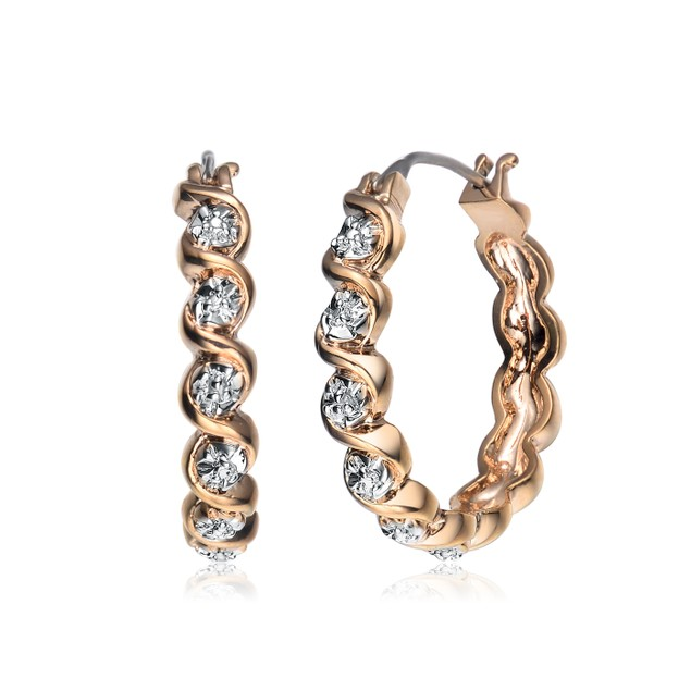 Gold Plated Diamond Accents Round Hoop Earrings