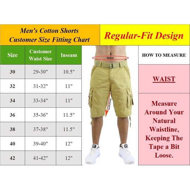 2-Pack Men's Cotton Chino Shorts with Belt (Sizes 30-42)