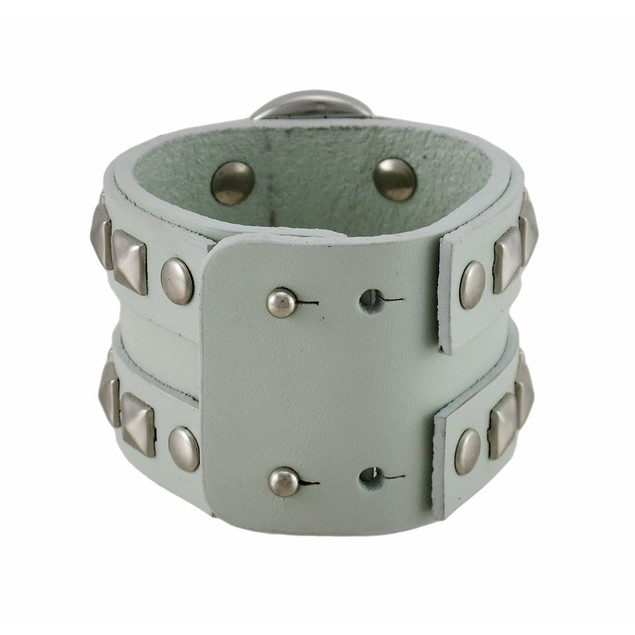 Gray Leather Double Chrome O Ring Wristband Mens Leather Bracelets