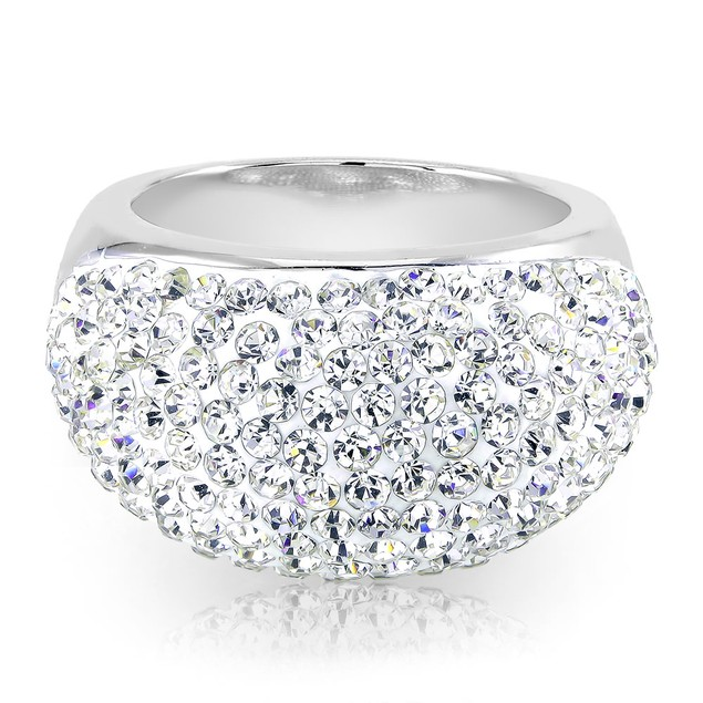 White Gold Plated Crystal Dome Ring - 4 Colors