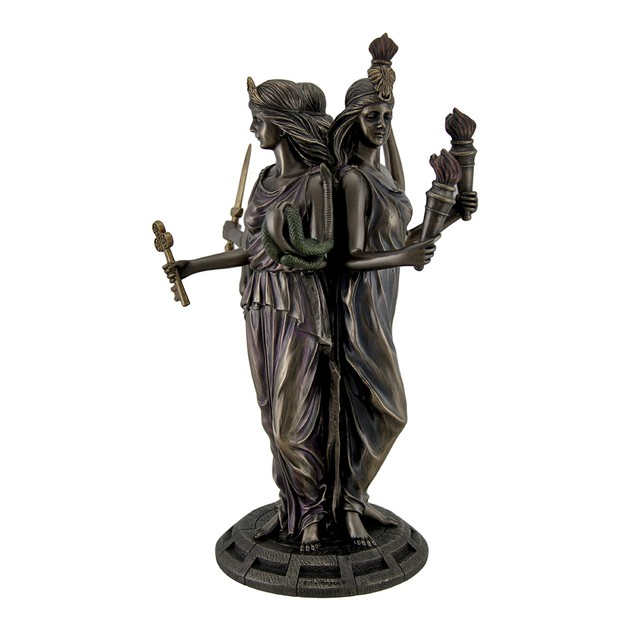 Large Bronze Finish Greek Goddess Hecate Triple Statues