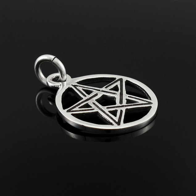 Sterling Silver Pentacle Pendant Pagan Wicca Charm Womens Pendants