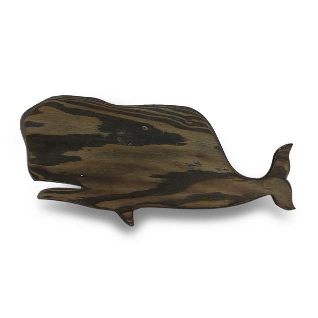 Wooden Whale Silhouette Dark Stained Decorative Wall Sculptures