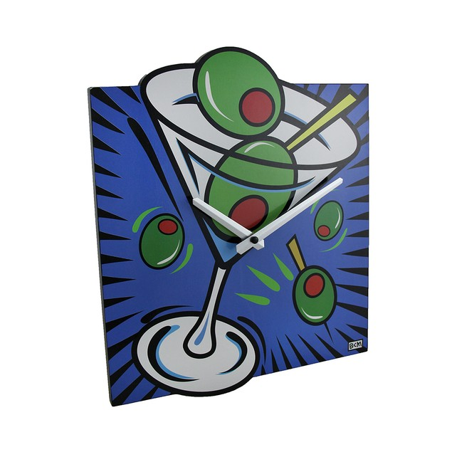 Brightly Colored Pop Art Style Martini Wall Clock Wall Clocks