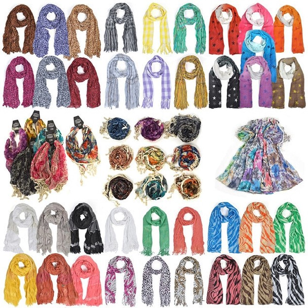 6-Pack Mixed Spring/Summer Viscose Fashion Scarves