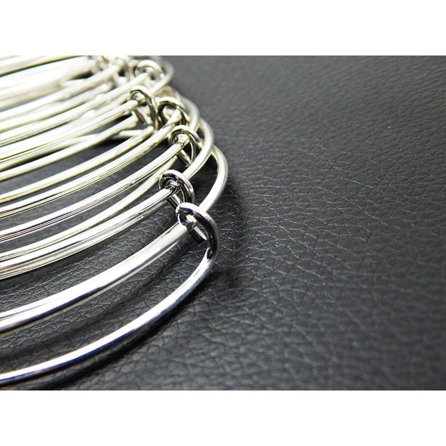 10pcs Expandable Silver Bangle Bracelet Wire Wrapped Adjustable