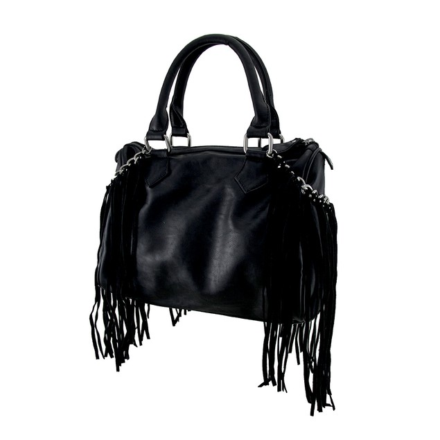 Black Show Time Clock And Fringe Accent Satchel Womens Shoulder Handbags