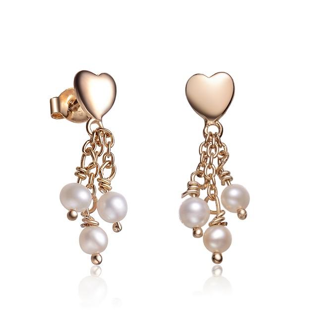 Sterling Silver Gold Plated Heart Shape Pearl Drop Earrings