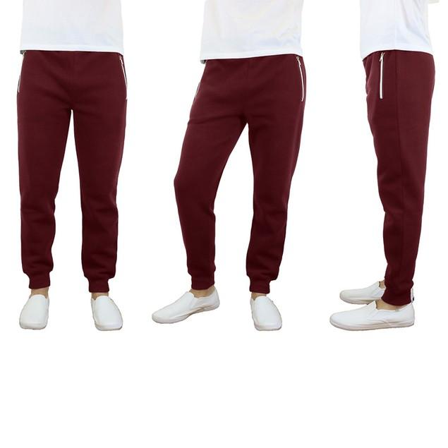Men's Heavy Fleece Joggers with Zipper Pockets