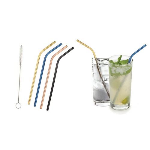 Colored Platinum Stainless Steel Straws with Brush