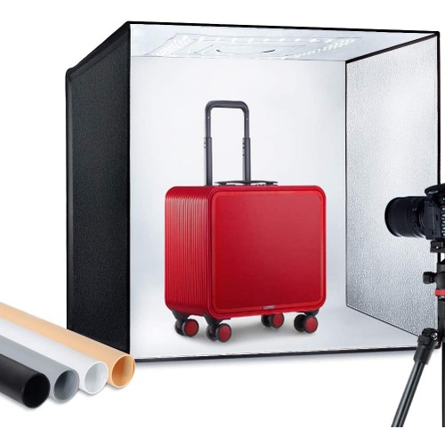 "ESDDI Photo Studio Light Box 24""/60cm Adjustable Brightness Portable Folding Hook & Loop"