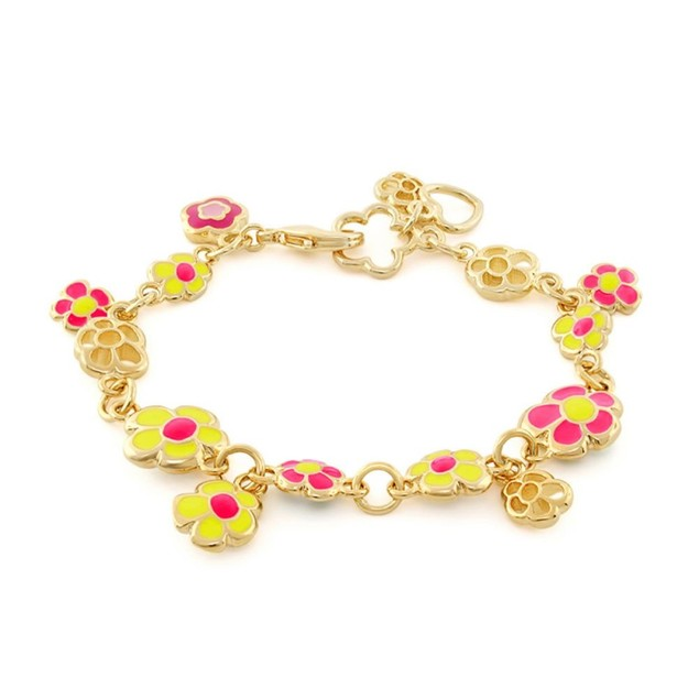 18KGP Hot-Pink & Yellow Enameled Daisy Flowers Charms Children's Bracelets