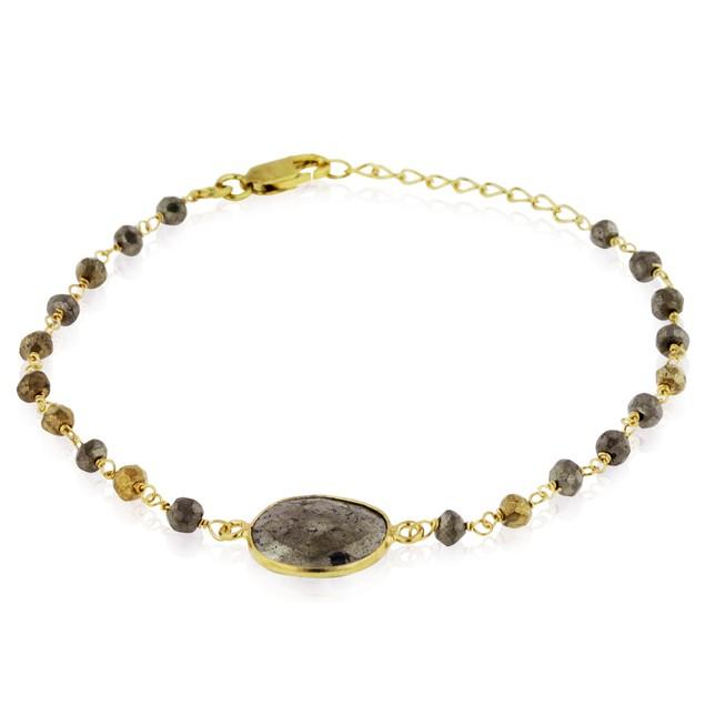 Gold Tone Sterling Silver 6 Carat Pyrite Bracelet