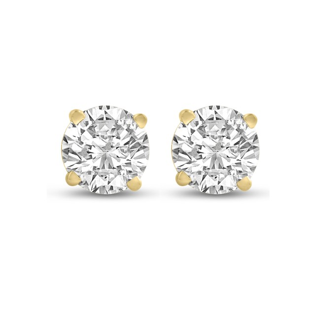 14k Yellow Gold 1/2 Carat Genuine Diamond Stud Earrings