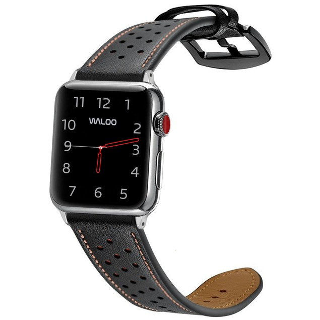 Waloo Breathable Genuine Leather Band for Apple Watch for All Series