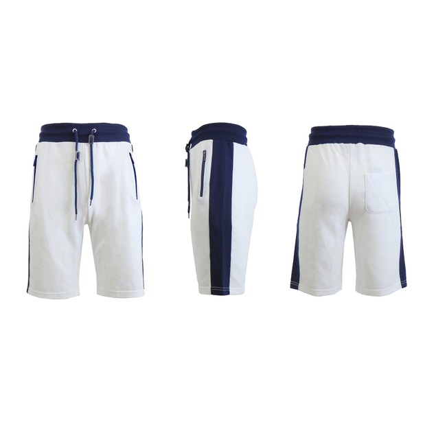 Men's French Terry Lounge Shorts With Zipper Pockets and Contrast Trim