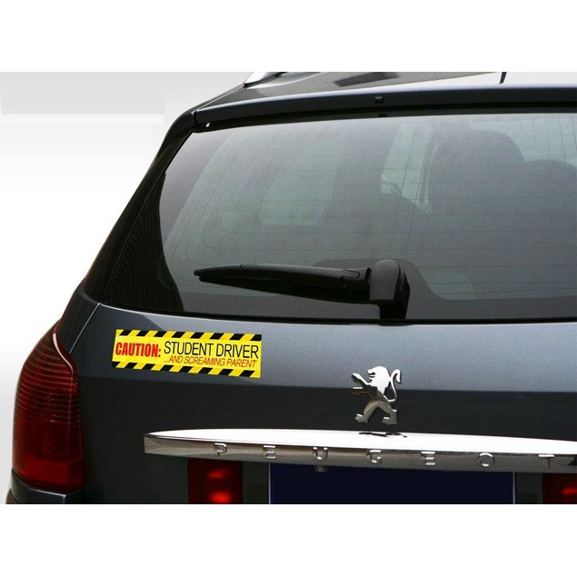 3-Pack Zone Tech Caution Student Driver Screaming Parent Magnets Decal