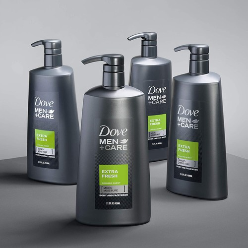 4 Pack Dove Men + Care Body Wash with Pump for Men's Skin Care Extra Fresh 21.2oz