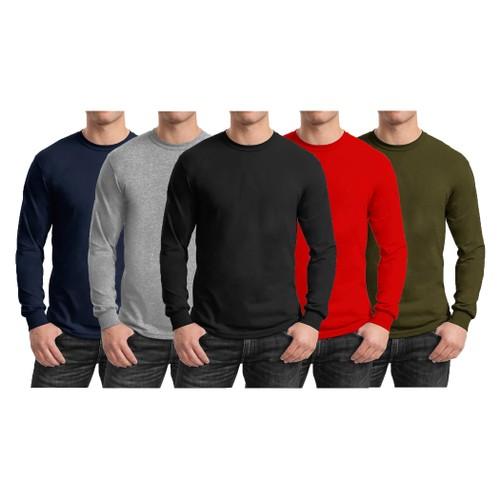 3-Pack Men's Long Sleeve Crew Neck Tee