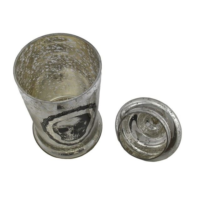 16 1/2 Inch Tall Silver Mercury Glass Skull Canisters