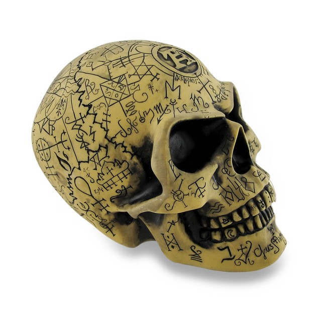 Alchemy Gothic  Ancient Rune Engraved Omega Skull Statues