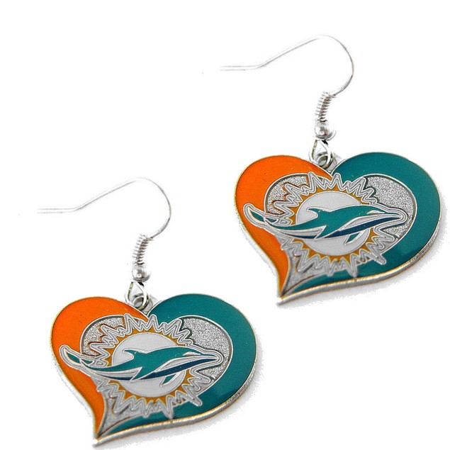 NFL Swirl Heart Earring Dangle Logo Charm Gift