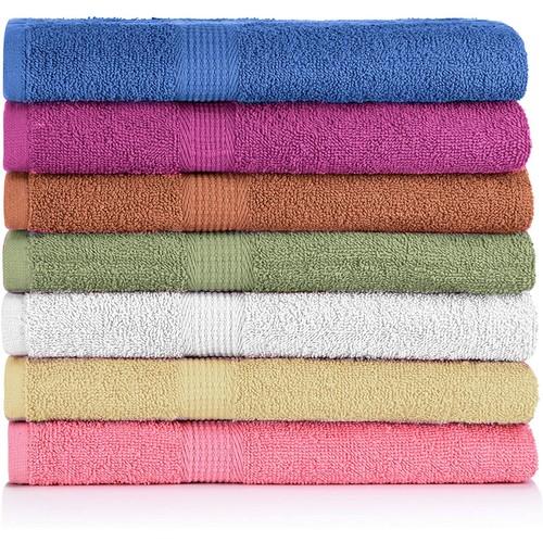 7 Pack: 100% Cotton Bath Towels - 27'' X 52''