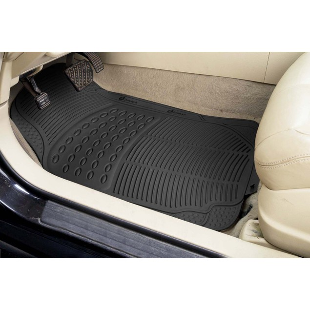 Zone Tech Set of 3 Piece Heavy Duty Car Vehicle Black Rubber Floor Mats