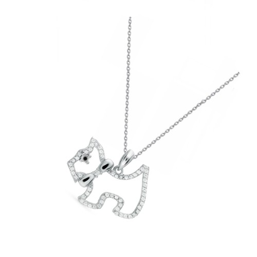 """0.925 Sterling Silver Simulated Diamond Dog Shape Pendant Charm W/ 18"""" Cable Chain Set"""