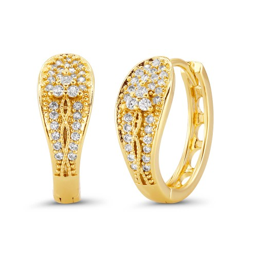 18kt Yellow Flowerish Goldtone Cubic zirconia  Huggie Earrings