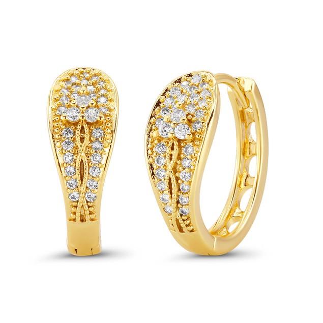 18kt Yellow Flowerish Goldtone Cubic zirconia  Huggie Earrings