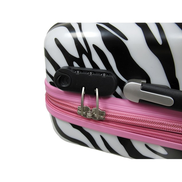 3 Pc. Locking Zebra/Pink Expandable Hard Shell Womens Luggage Sets