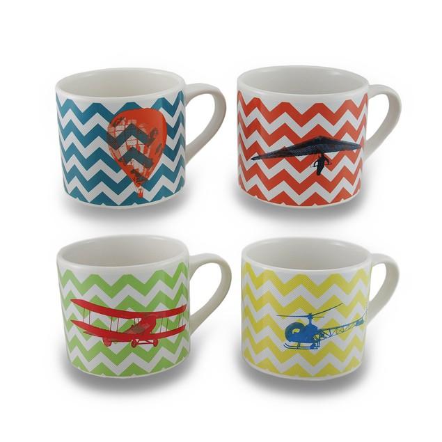 Set / 4 Flights Of Fantasy Colorful Chevron Novelty Coffee Mugs