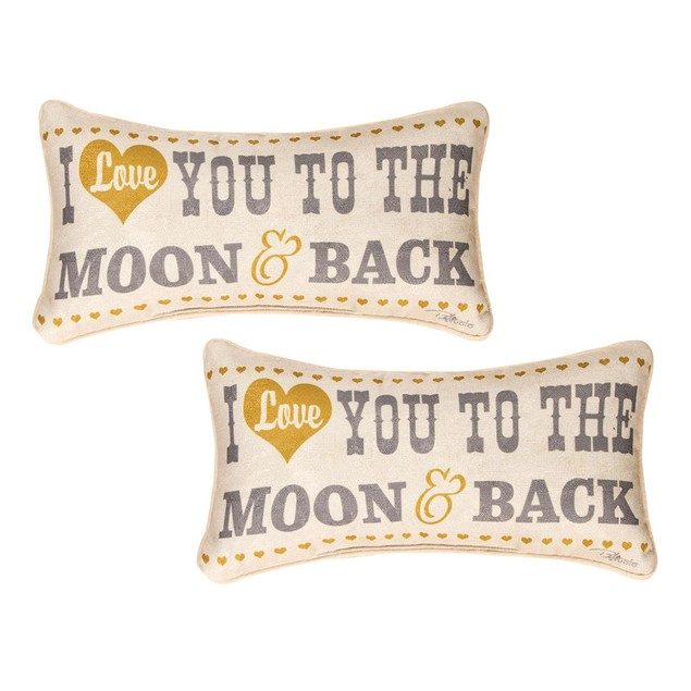 Pair Of I Love You To The Moon And Back 17 X 9 Throw Pillows