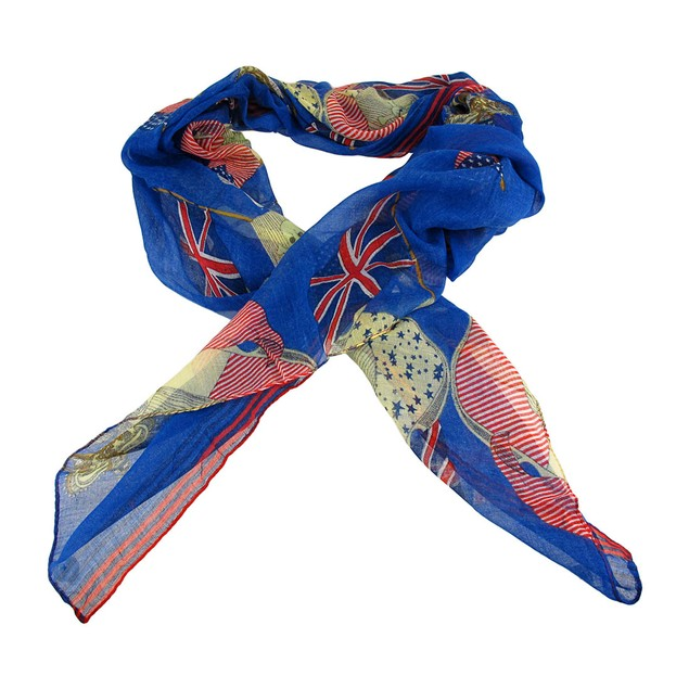 Lightweight Gauze Us/Uk Flags Pirate Fashion Scarf Womens Fashion Scarves