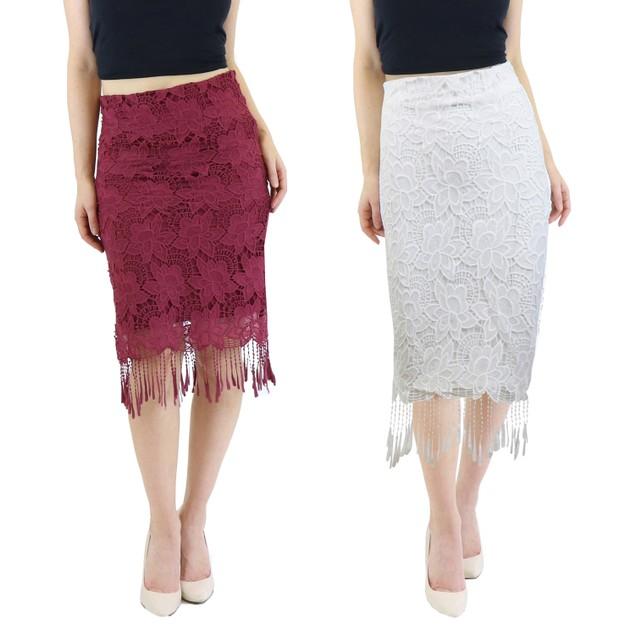Women's Vintage Knee Length Lace Pencil Skirt (2-Pack, XS-XL)
