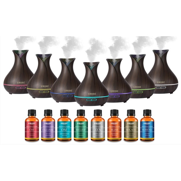Ultrasonic Diffuser with 9-pack Essential Oil Gift Set
