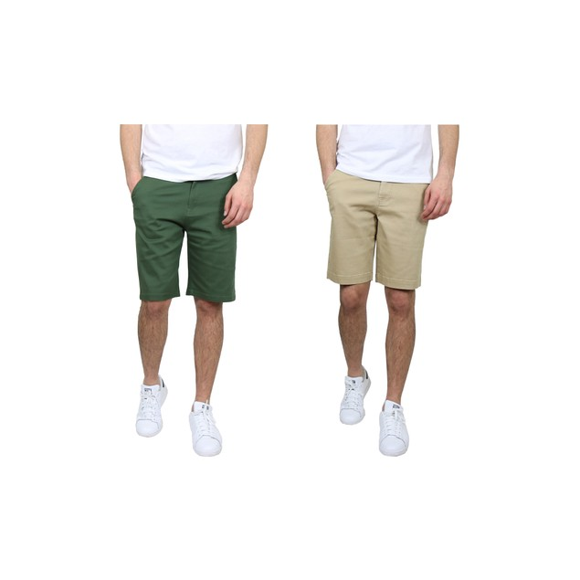 2-Pack Men's 5-Pocket Flex Stretch Cotton Chino Shorts