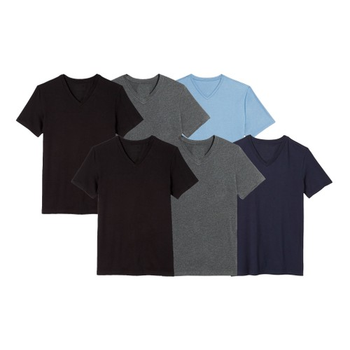6-Pack Boy's Short Sleeve V-Neck Tee