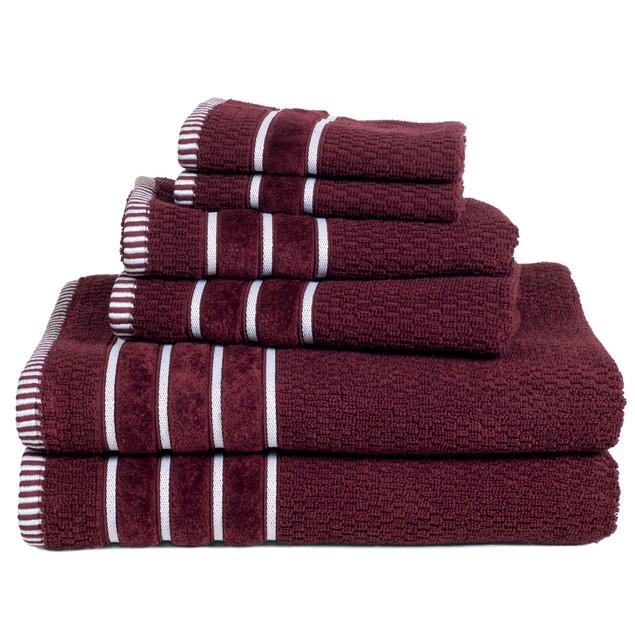 100% Egyptian Cotton Rice Weave 6 Piece Towel Set
