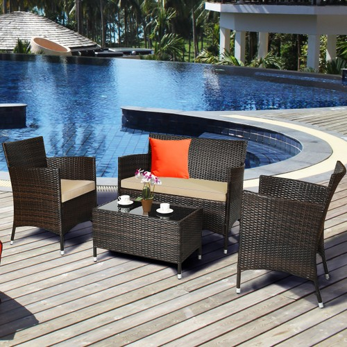 Costway 4PCS Rattan Patio Furniture Set Cushioned Sofa Chair Coffee Table R